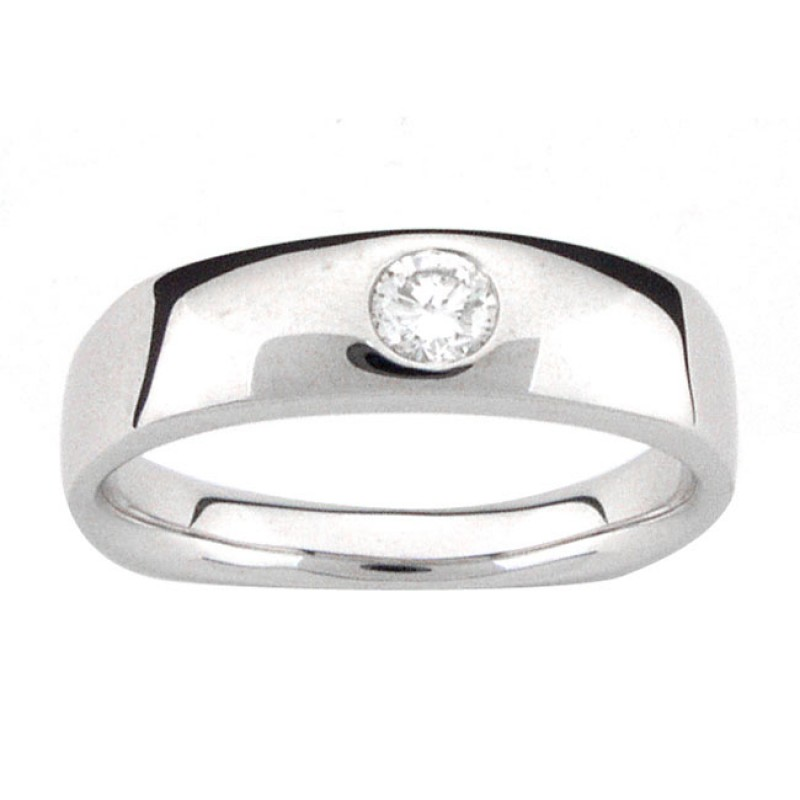 PLATINUM GENTS RING with 1 Diamonds 030ctw Mens Single Diamond