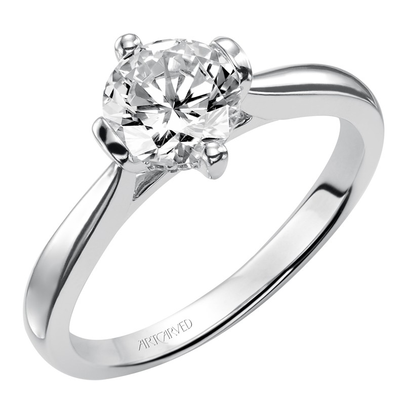 Nancy Solitaire Diamond Engagement Ring With Polished Band - 31-V404ERW