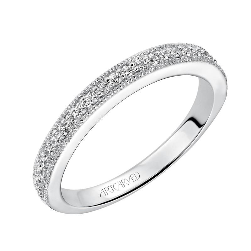 ArtCarved 'Harper' Diamond Wedding Band in 14K White Gold - 31-V504W