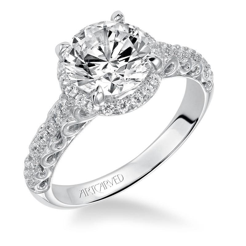 """Shelly"" Prong Set Halo Engagement Ring"