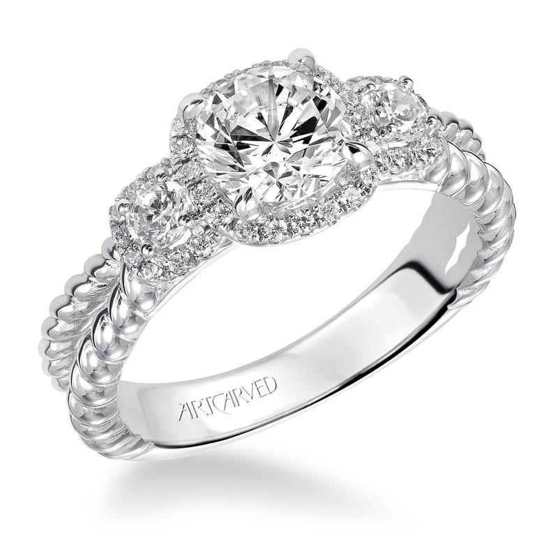 Mandy' 3 Stone Halo Prong Set Engagement Ring  - 31-V548ERW-E.00
