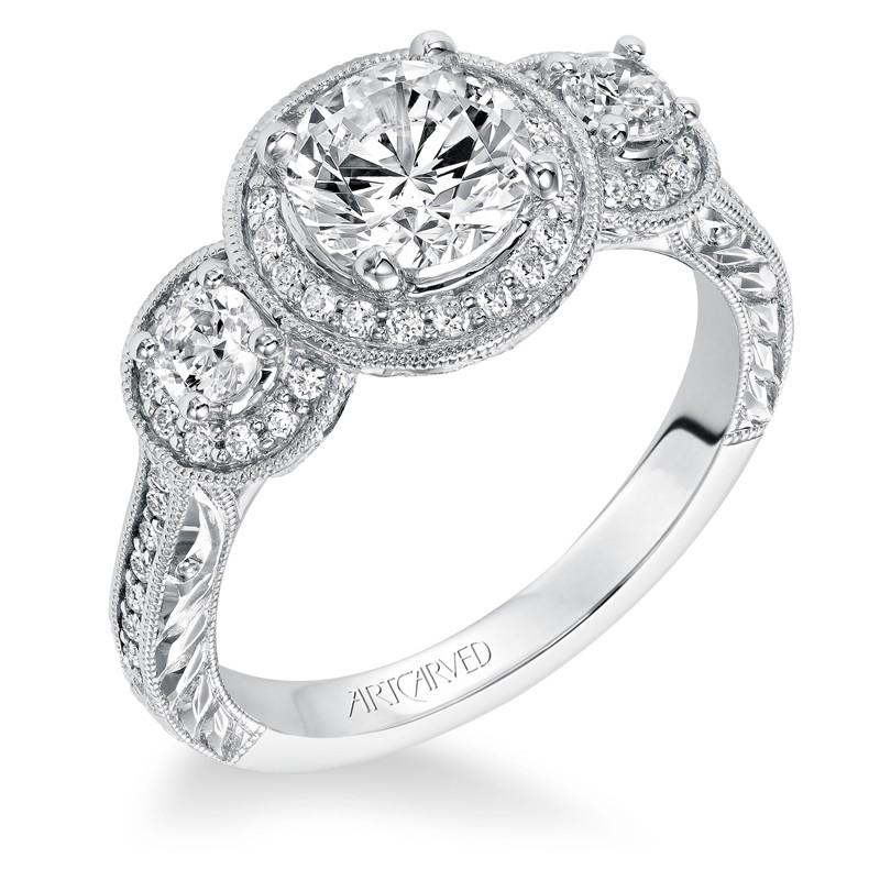 Ophelia' Vintage Inspired Diamond Halo Engagement Ring - 31-V553ERW-E.00