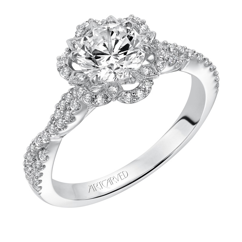 """Monique"" Contemporary Floral Halo Diamond Engagement Ring"