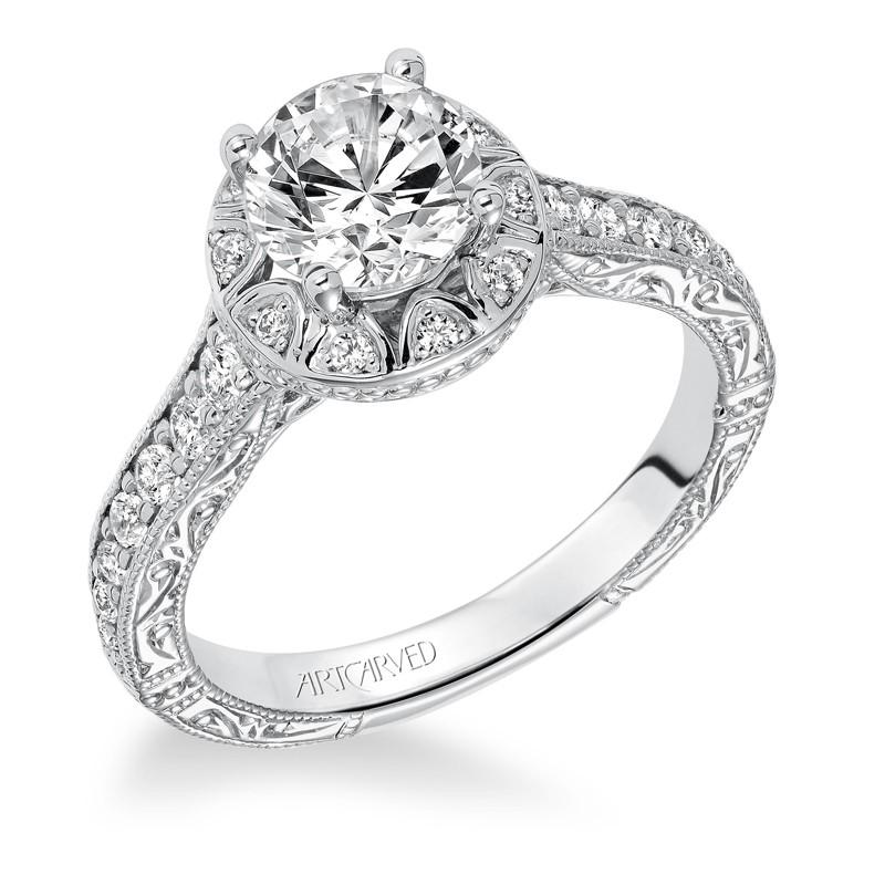 """Winslet"" Halo Hand Engraved Diamond Engagement Ring"