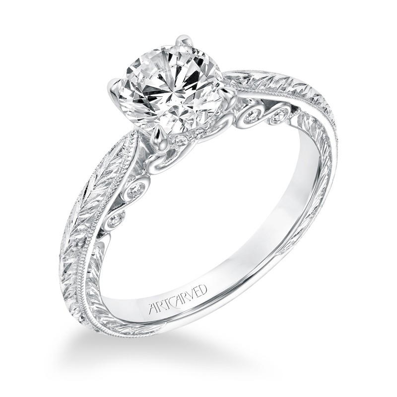 Anwen' Vintage Diamond Solitaire Knife Edge Hand Engraved Engagement Ring - 31-V690ERW-E.00