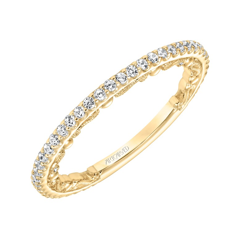 ArtCarved Vintage Diamond Prong Set Band with Scrollwork Filigree in 14K Yellow Gold - 33-V9178Y