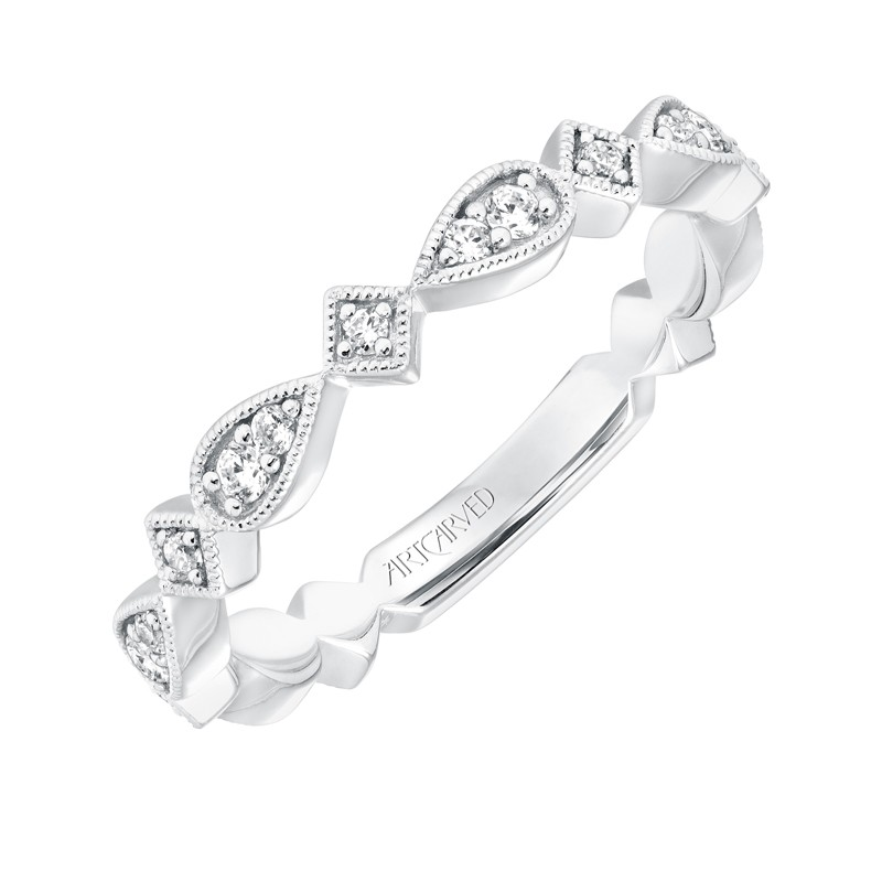 ArtCarved Vintage Diamond Prong Set Band in 14K White Gold - 33-V9186W