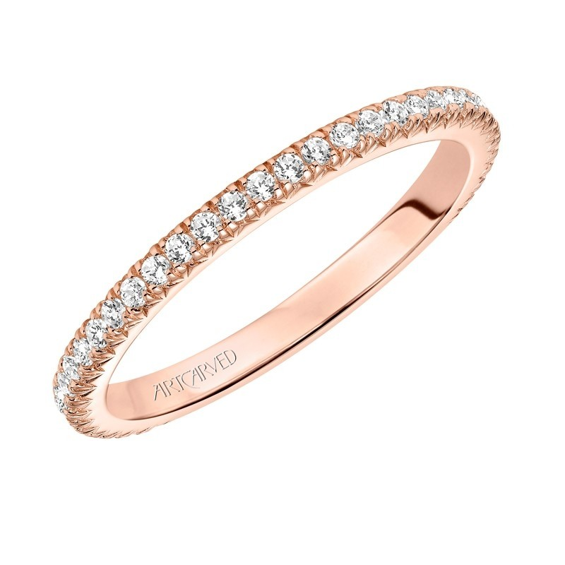 Artcarved 14k Rose Gold Diamond Wedding Band