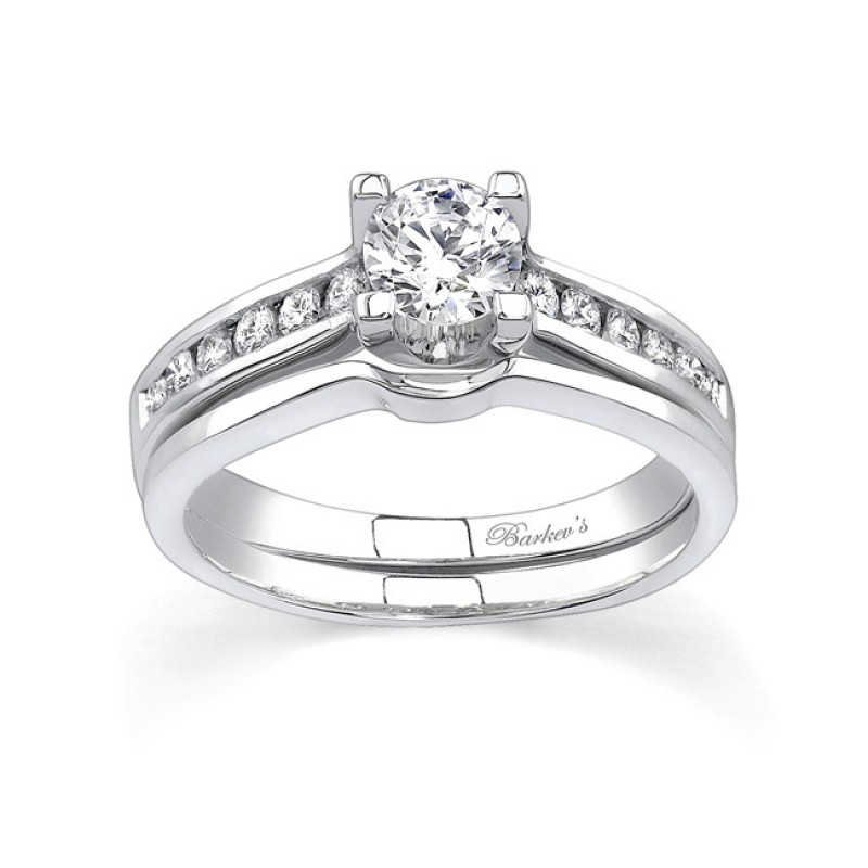 White gold diamond engagement ring set - 6952SW