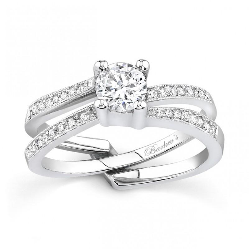 White gold diamond engagement ring set - 7142SW
