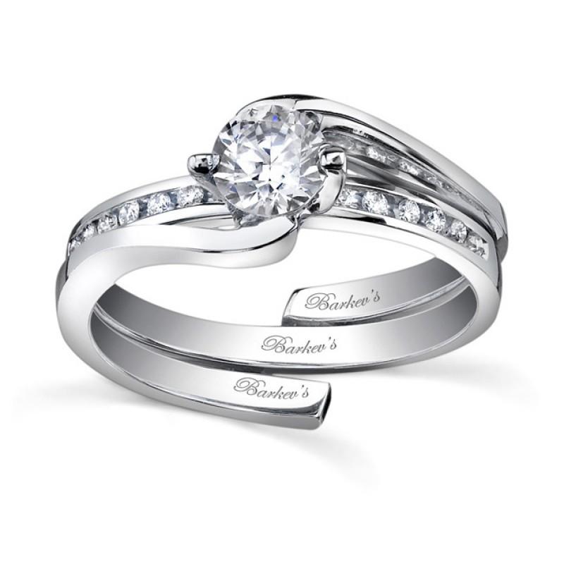 White gold diamond engagement ring set - 7493SW