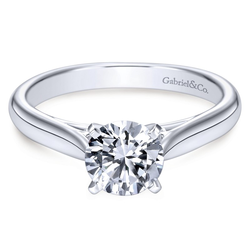 14K White Gold Traditional Solitaire Engagement Ring
