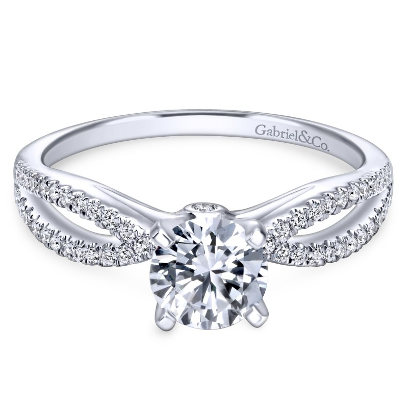 14K Intertwined White Gold Contemporary Engagement Ring