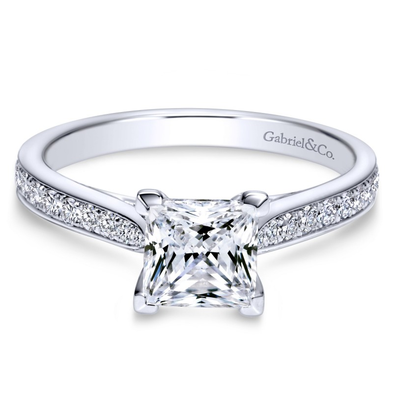 14K White Gold Princess Cut Victorian Styled Engagement Ring