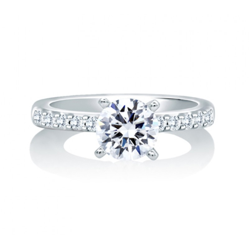TIMELESS CLASSIC DOUBLE PRONG SET CENTER WITH SHARED PRONG DOUBLE SHANK ENGAGEMENT RING