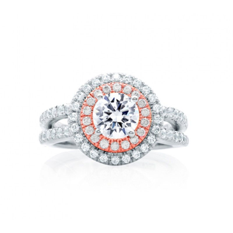 Double Halo Rose Gold Diamond Split Shank Engagement Ring