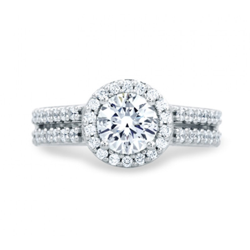 Classic Split Shank Round Diamond Center Halo Engagement Ring