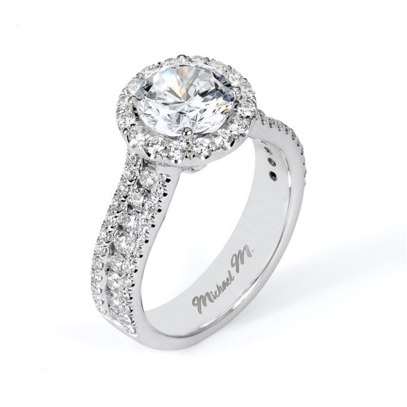 18 KARAT WHITE GOLD WEDDING RING with diamonds R5511 Michael M