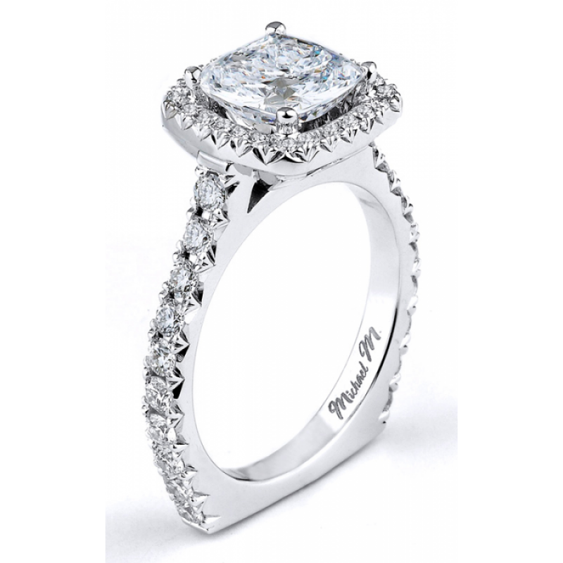 Michael M French Cut Diamond Engagement Ring