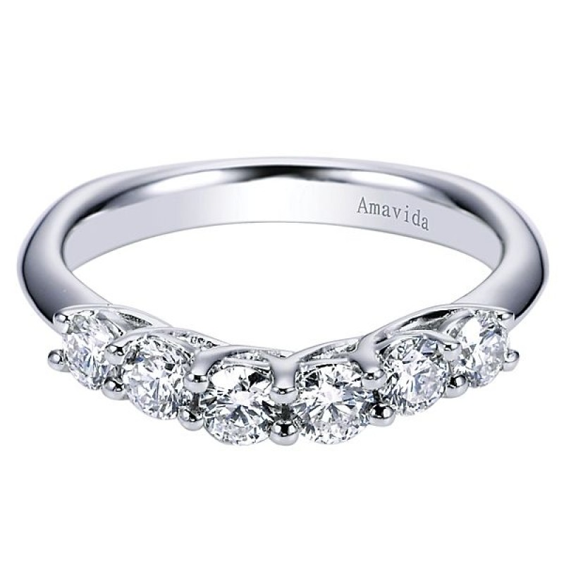 18k white gold curved diamond wedding band ladies wedding bands