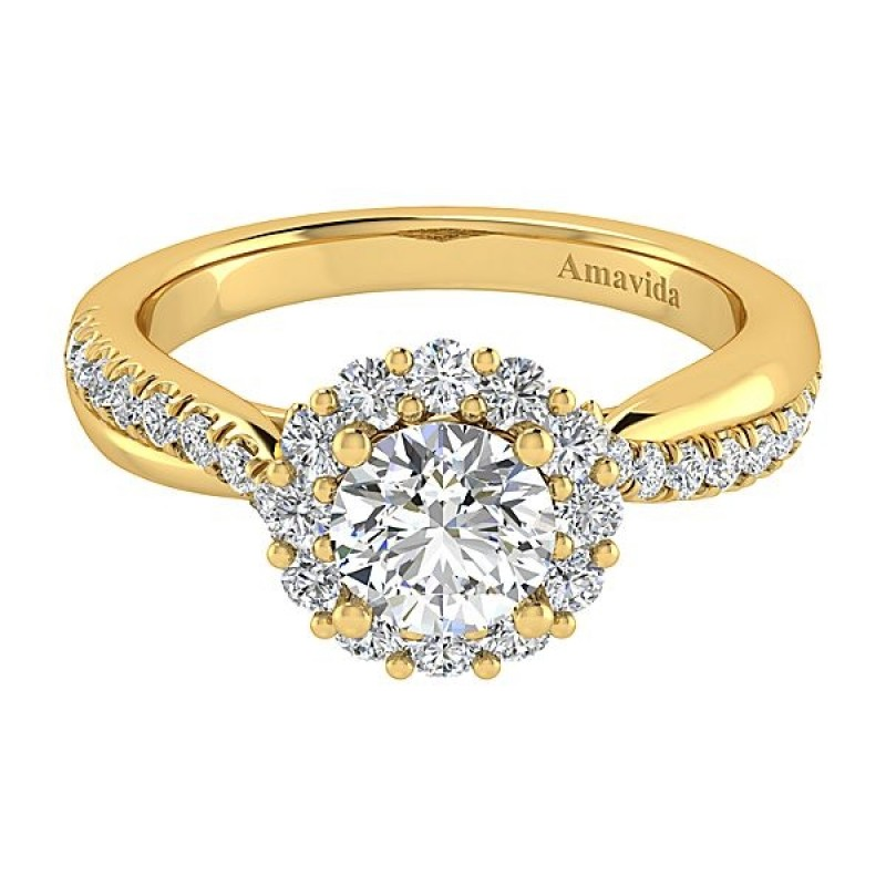 ring rose halo diamond cut mount rings vintage cushion semi engagement gold