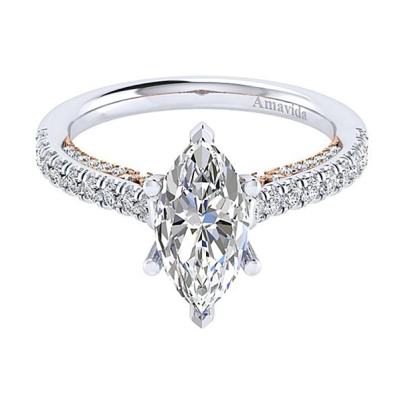 18k White/Rose Gold Marquise Straight Diamond Engagement Ring