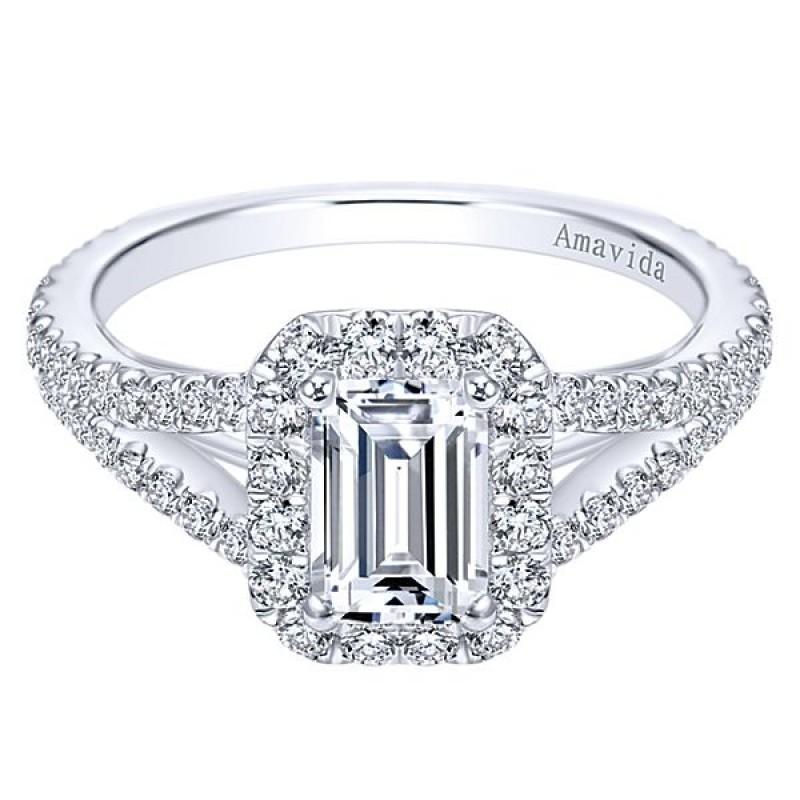18k White Gold Amavida Emerald Cut Halo Diamond Engagement Ring