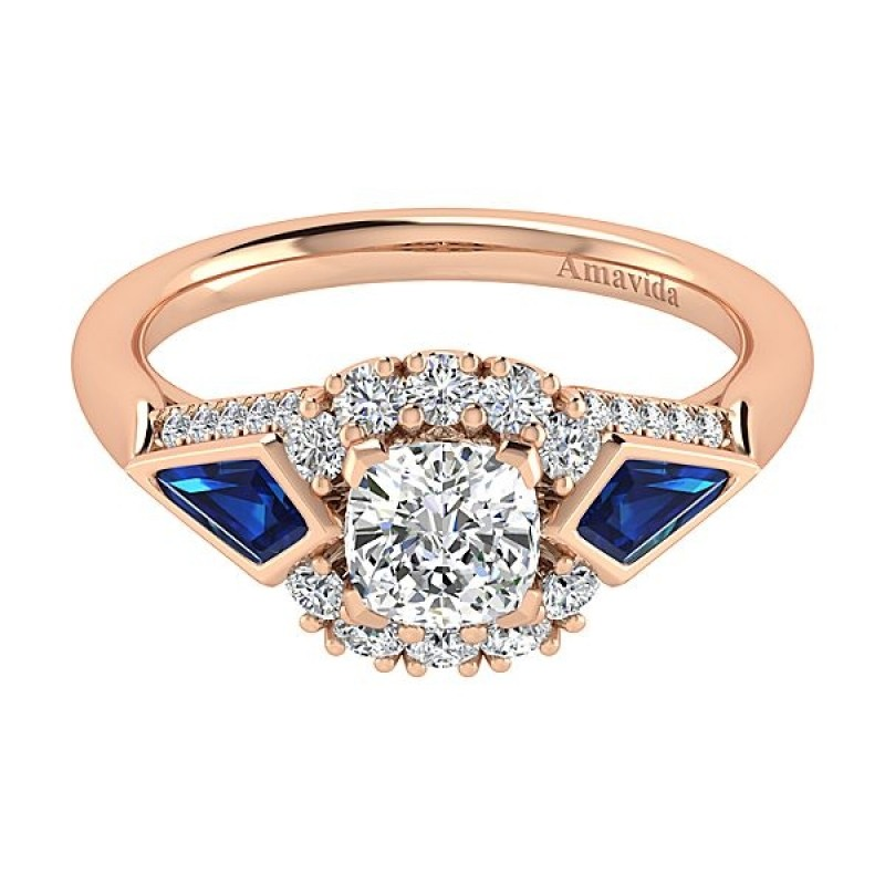 18k Rose Gold Cushion Cut Halo Diamond A Quality Sapphire Engagement Ring