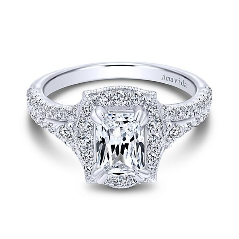 engagement cut diamond ring rings emerald stone