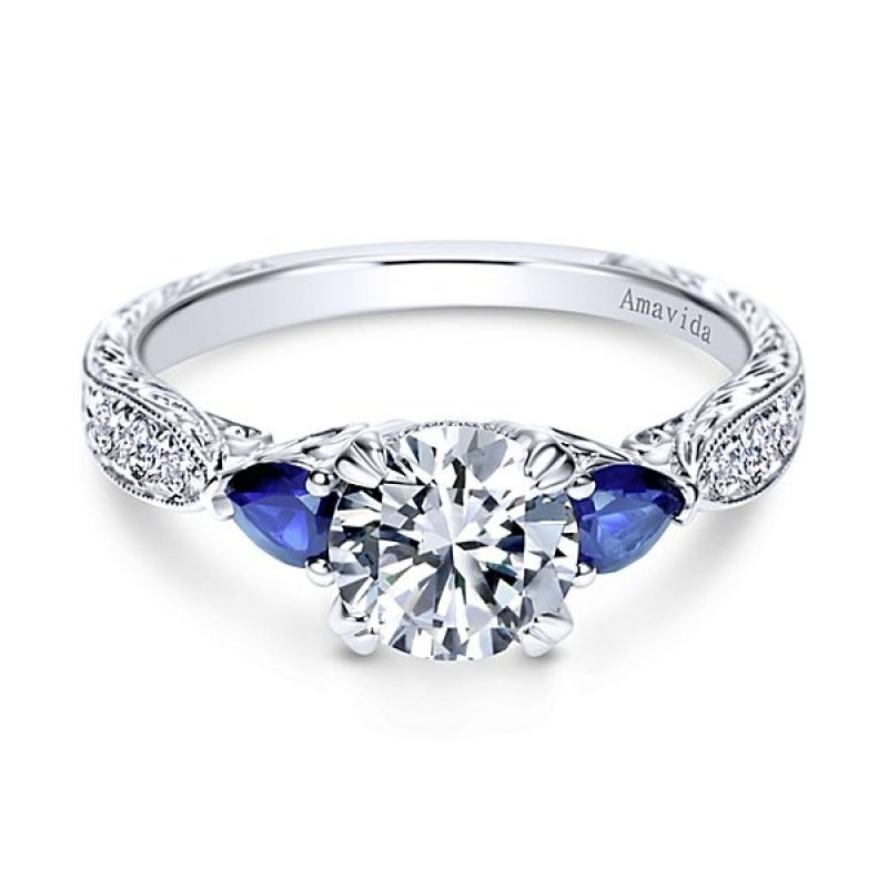 sapphire cut ring gabriel girasol a designs platinum diamond bands vintage halo cushion quality engagement