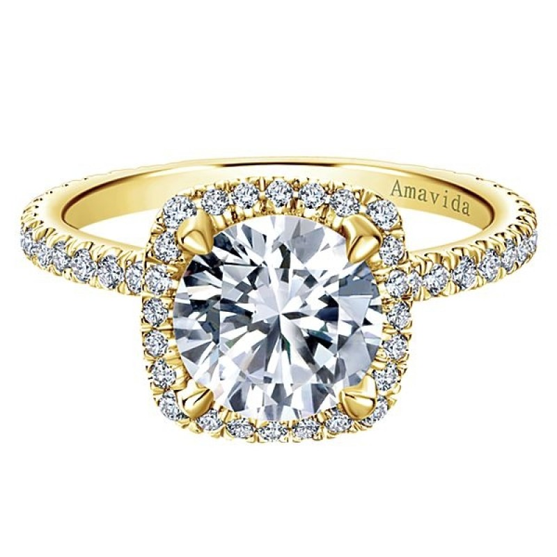 18k Yellow Gold Amavida Round Halo Diamond Engagement Ring - Halo ... 081bf0252538