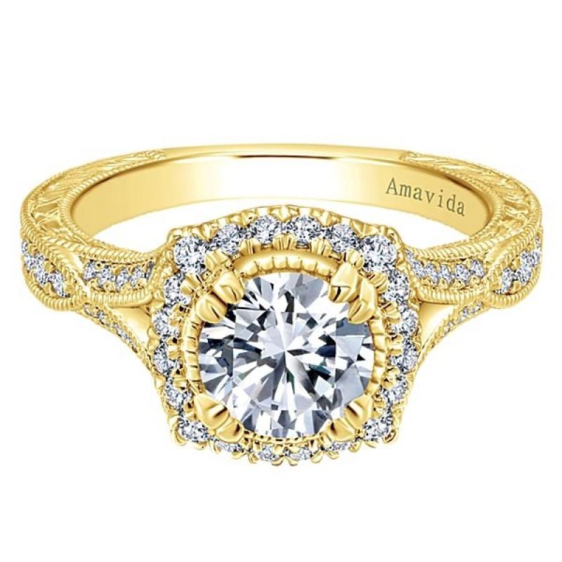 Vintage 18k Yellow Gold Amavida Round Halo Diamond A Quality Sapphire Engagement Ring
