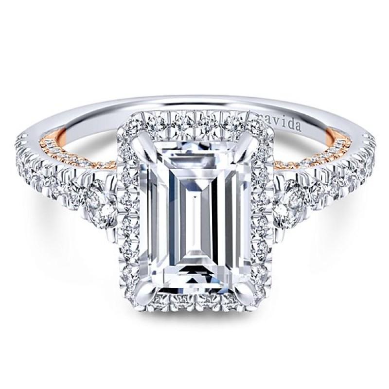 18k White/Rose Gold Emerald Cut Halo Diamond Engagement Ring