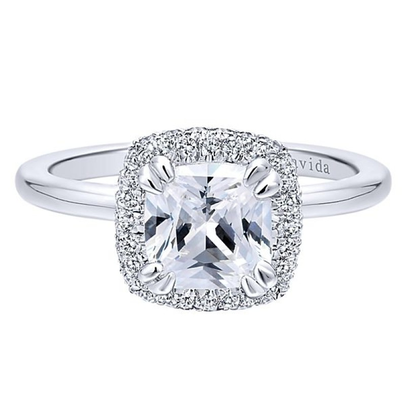 cut cubic stone ring engagement halo cushion white gold style rings cz zirconia carat in