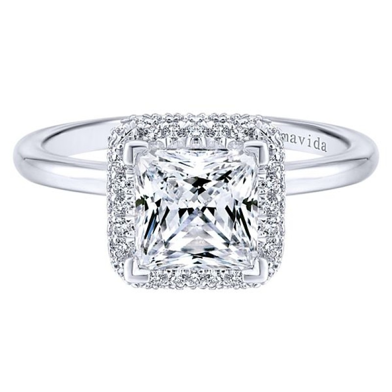 18k White Gold Princess Cut Double Halo Diamond Engagement Ring