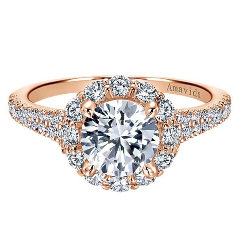18k Rose Gold Amavida Round Halo Diamond Engagement Ring