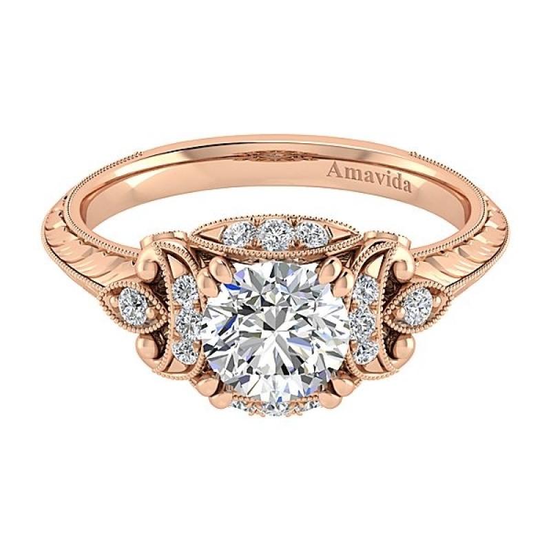 Vintage 18k Rose Gold Round Halo Diamond Engagement Ring Rose Gold