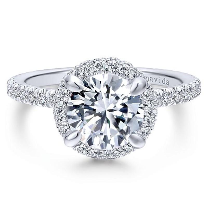 18k White Gold Round Double Halo Diamond Engagement Ring Halo