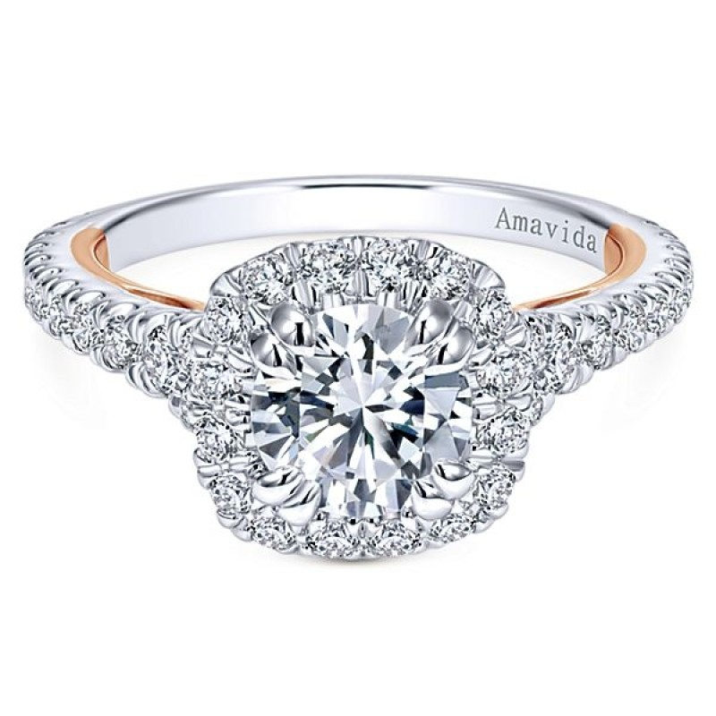18k White/Rose Gold Amavida Round Halo Diamond Engagement Ring
