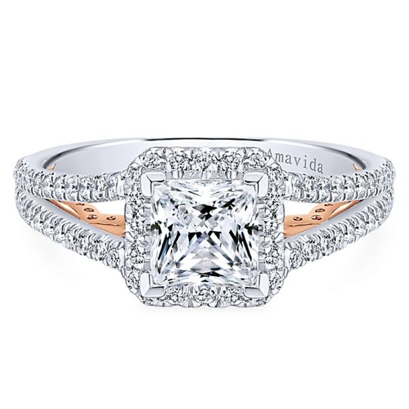 18k White/Rose Gold Princess Cut Halo Diamond Engagement Ring