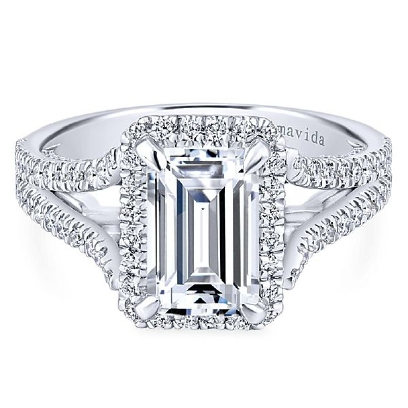 18k White Gold Emerald Cut Halo Diamond Engagement Ring