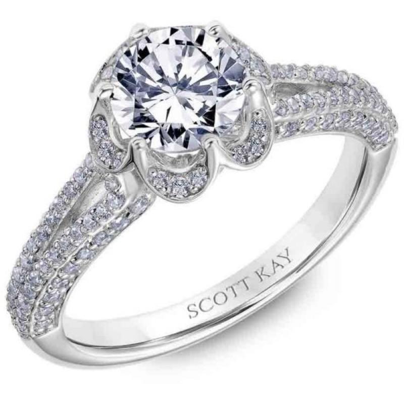 White Gold Scott Kay Diamond Engagement Ring Split Shank