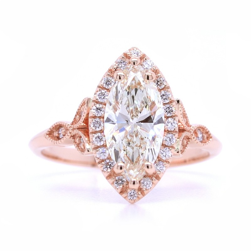 Bridal Rings Company Marquise Halo Diamond Engagement Ring in 14K Rose Gold