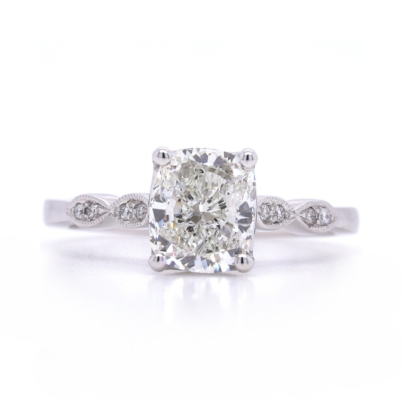 Bridal Rings Company Antique Inspired Round Diamond Engagement Ring in 14K White Gold