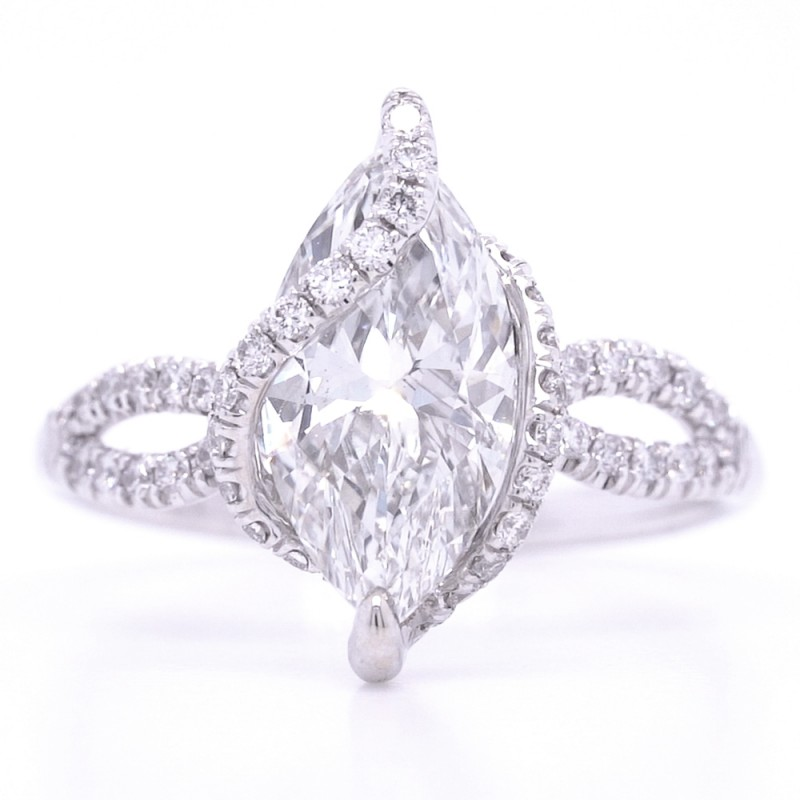 Bridal Rings Company Marquise Diamond Engagement Ring in 18K White Gold