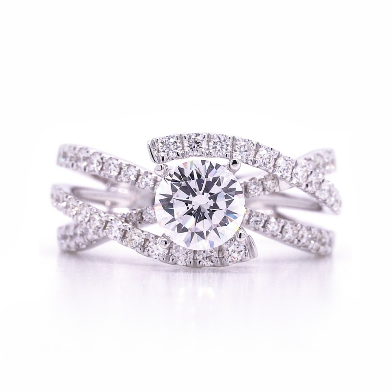 Bridal Rings Company Modern Round Diamond Engagement Ring in 14K White Gold