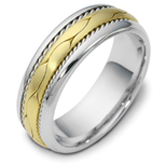 Two Tone Platinum And 18kt Yellow Gold Gents Band