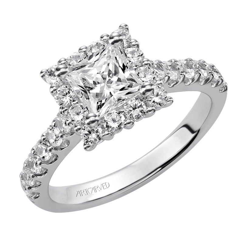 Yolanda' Princess Cut Diamond Engagement Ring  - 31-V438ECW