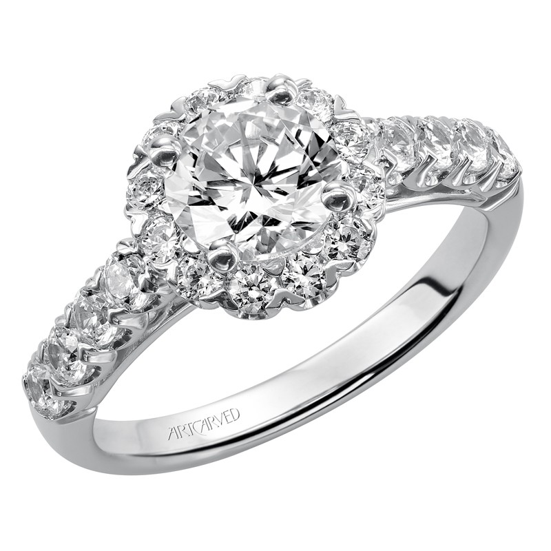 Jaime' Diamond Halo Engagement Ring  - 31-V440ERW