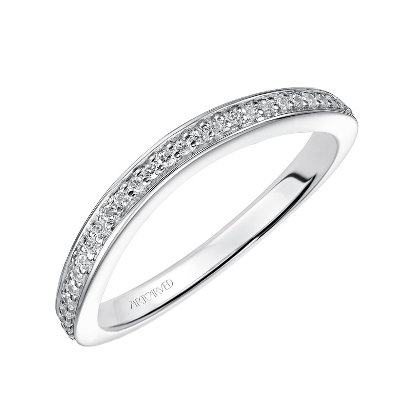 ArtCarved 'Flora' Diamond Wedding Band in 14K White Gold - 31-V448W